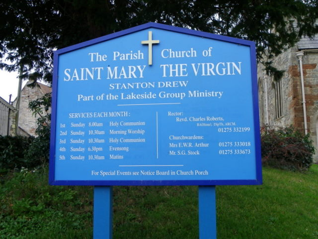Sign for the Church of St Mary the Virgin