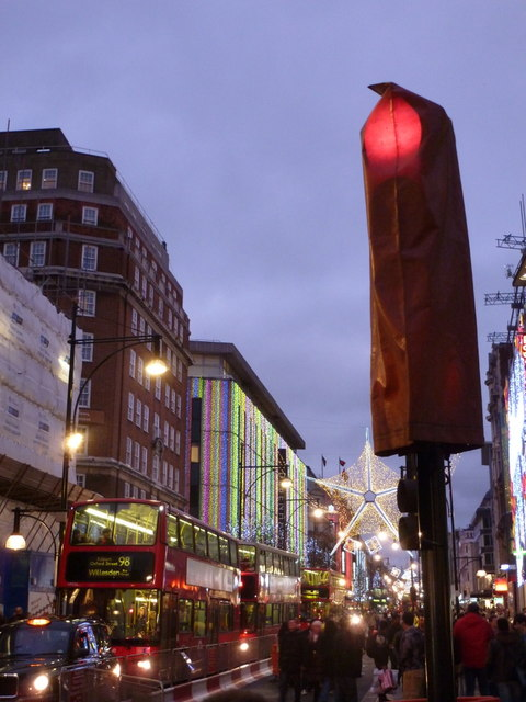 London: covered traffic light in Oxford Street