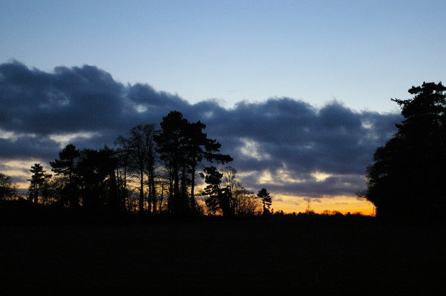Winter sunset, fields and woods south of Farnborough