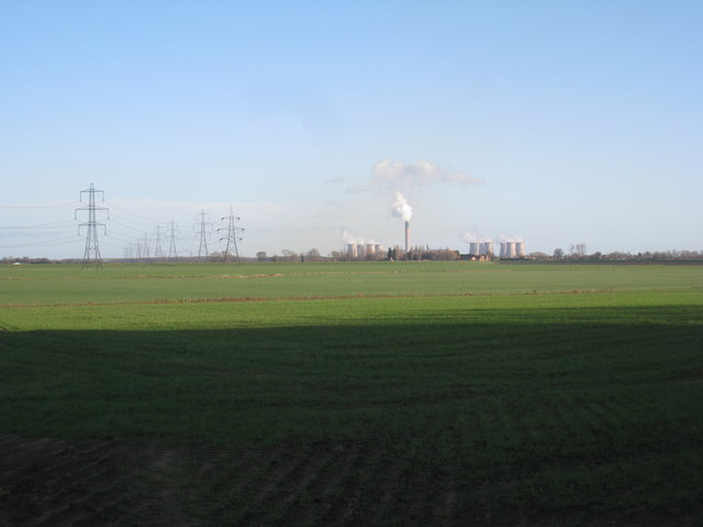 View from the shadows of Eggborough power station to the power station at Drax