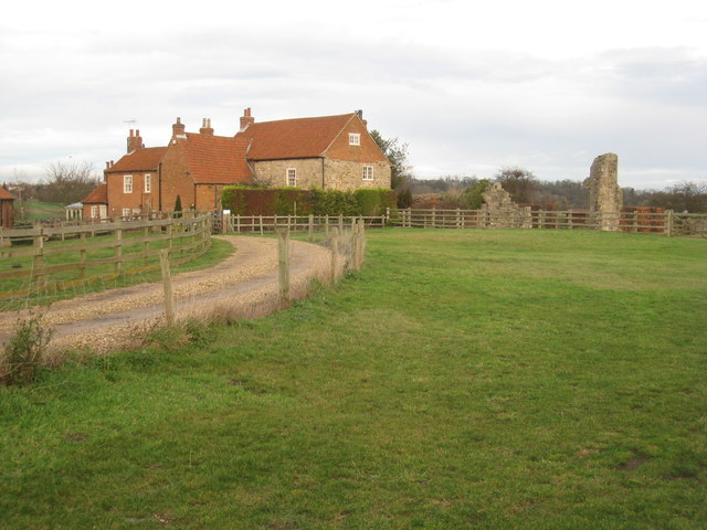 Abbey Farm and the remains of Mattersey Priory