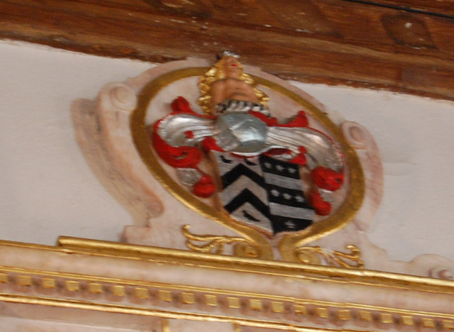 Crest on Tanfield Memorial, St Margaret's church