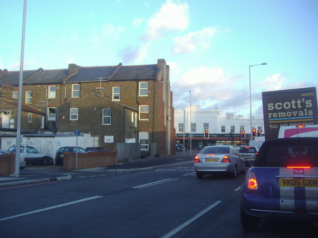 Bowes Road at the junction of Green Lanes