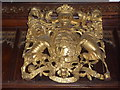 SO6376 : A Royal coat of arms inside Hopton Wafers church by Jeremy Bolwell