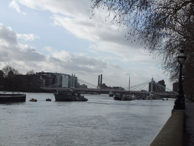River Thames and Albert Bridge, Chelsea Embankment SW3