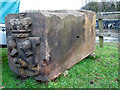 SJ6470 : Vale Royal locks - carved stone by Stephen Craven