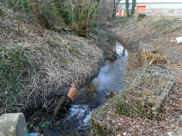 Small stream near the southern edge of Riverside Industrial Park, Treforest