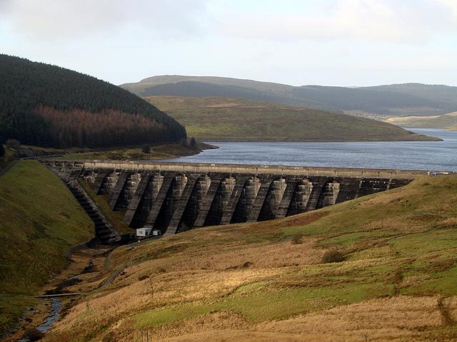 Nant-y-moch dam viewed from Ffosydd Gleision
