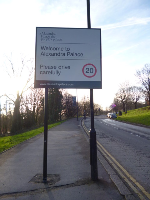 Welcome to Alexandra Palace sign, South Terrace N22