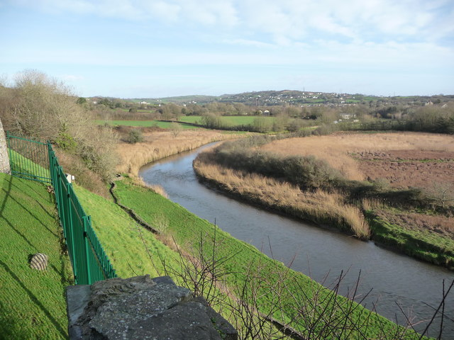 The view over the River Gwendraeth from Kidwelly Castle