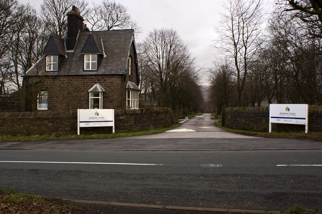 The entrance and gatehouse to the Anderton Centre