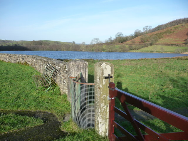 View of the lake from near Talley Abbey ruins