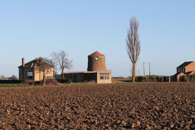 Old windmill across the  fields, near Donington