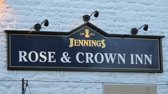 Sign on the Rose and Crown Inn, Slaley