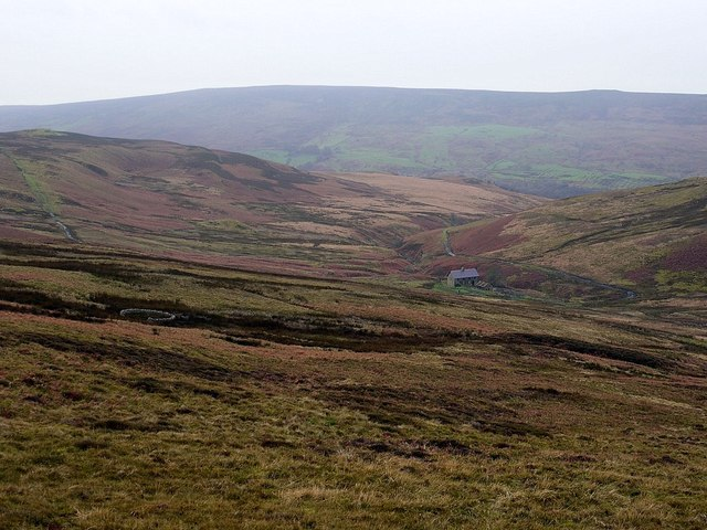 Gairs and sheepfold from slopes of  Brown Fell