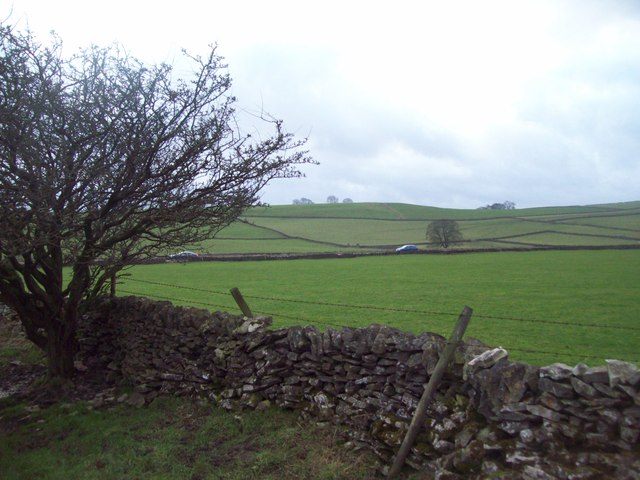 Wall and Fields Overlooking the A623 Road