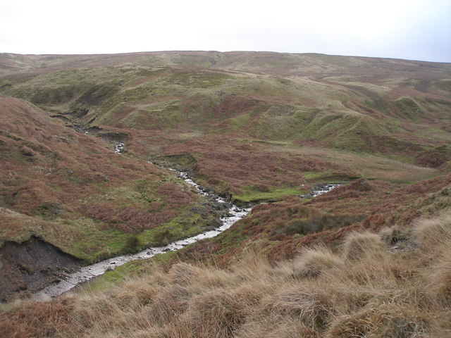 Meeting of streams seen from the Pennine Bridleway