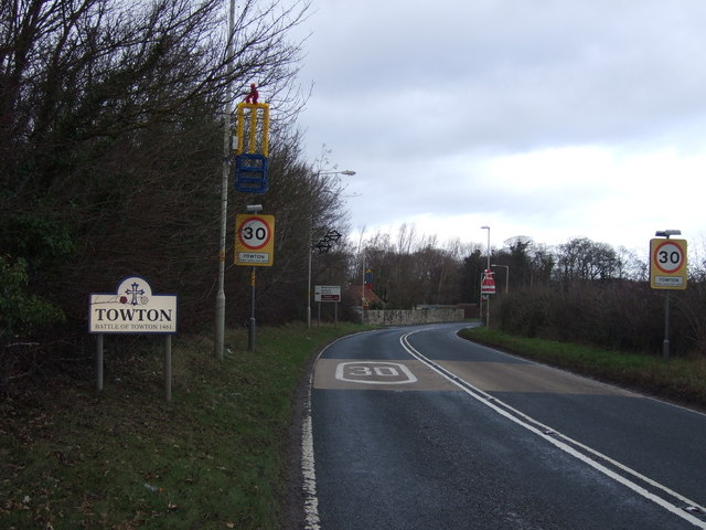 Entering Towton on the A162