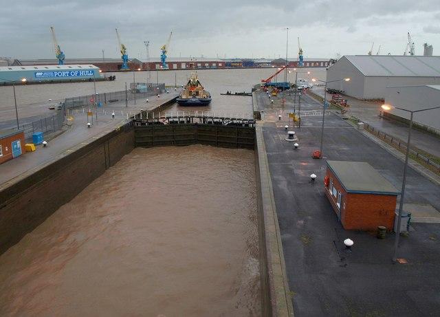 Lock into King George Dock, Hull