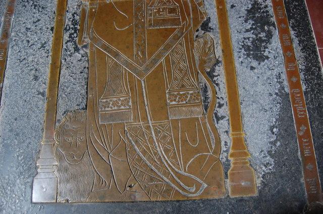 Detail of Brass, St Margarets church, Horsmonden