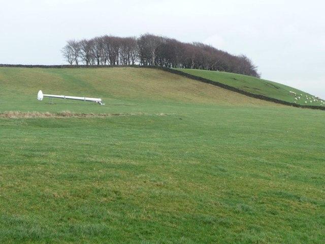 Wind turbine in waiting, below Drake Hill