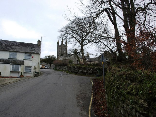 Approaching Widecombe village centre from the South