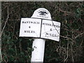 SJ6857 : Nantwich to Middlewich road marker by  Moston-Harratt