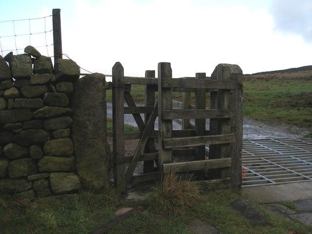 Cut bench mark on gatepost near Beaver Farm
