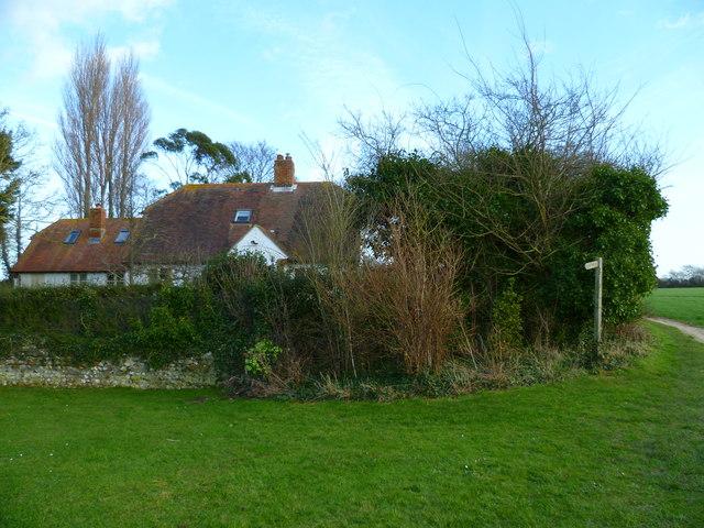 Footpath detours around houses east of Bosham