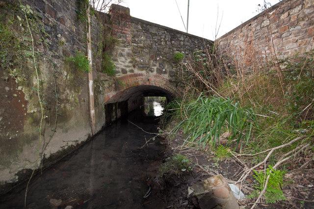 Looking downstream on Coney Gut towards a bridge on Victoria Street