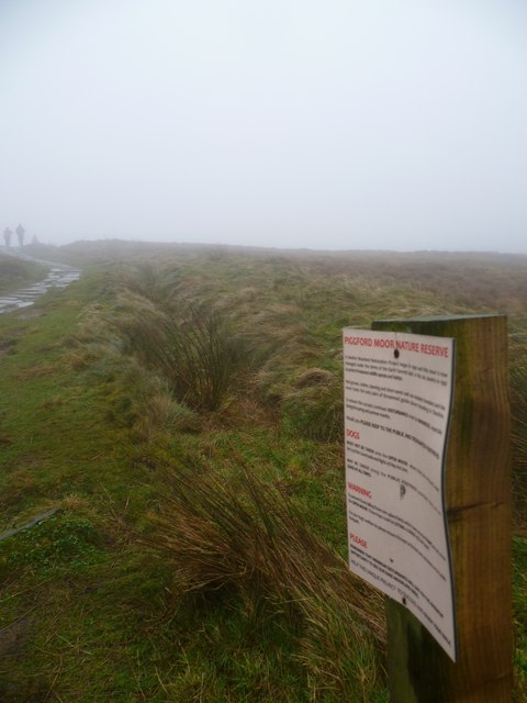 Piggford Moor Nature Reserve Sign by the Footpath