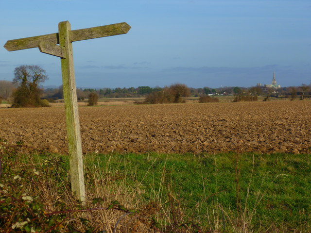 Field with signpost south of Fishbourne