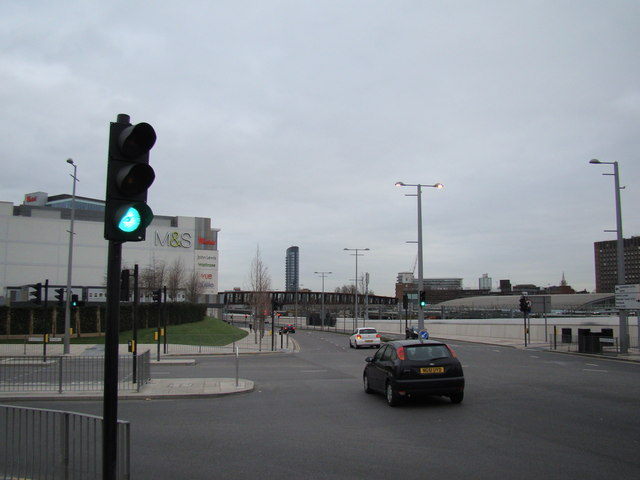 View along Westfield Way towards Stratford station