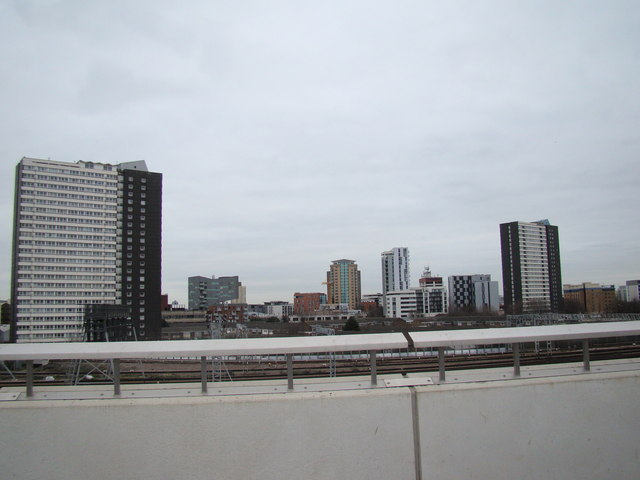 Buildings and railway lines in Stratford, viewed from Westfield Way