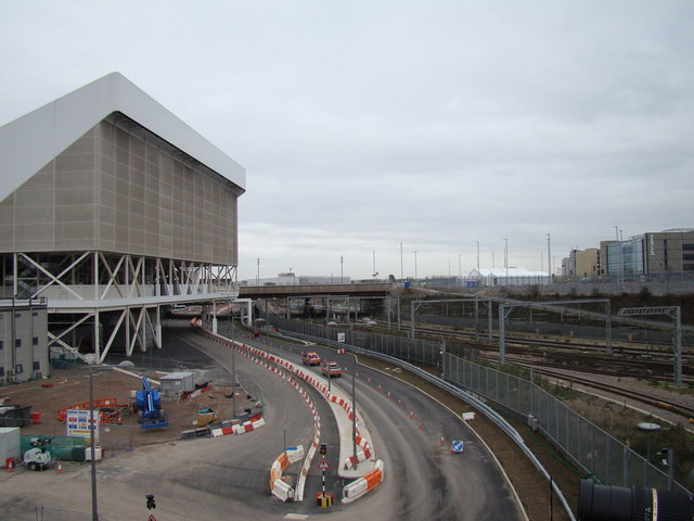 View of the road to the Aquatics Centre, viewed from Westfield Way