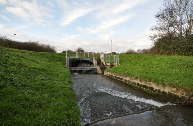 The weir and storm tunnel which serve as a flood relief for Coney Gut