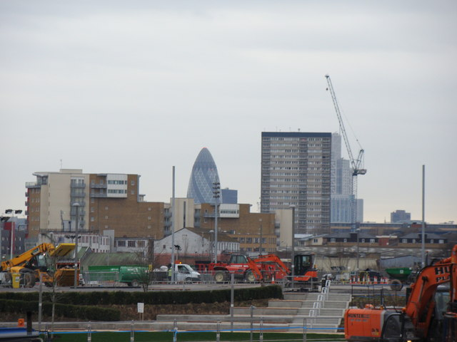 View of the Gherkin from Westfield Way