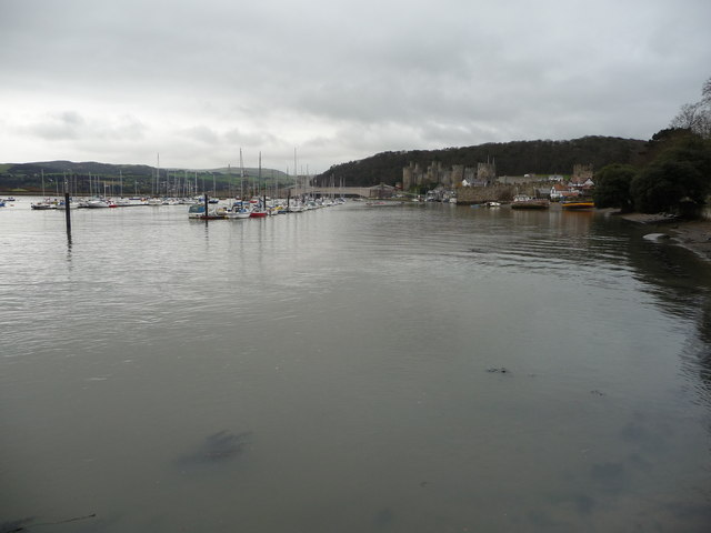 View of part of the Afon Conwy near Conwy castle and quay