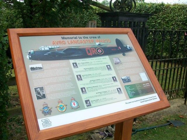 Interpretation Board for the Lancaster W4270 Memorial