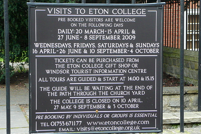 Eton College entrance information
