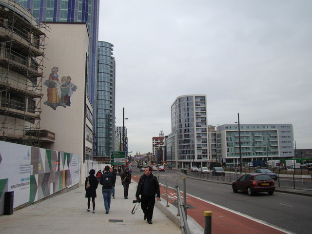 Looking up Stratford High Street towards Stratford