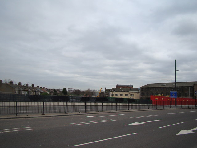View of Mill Meads from Stratford High Street
