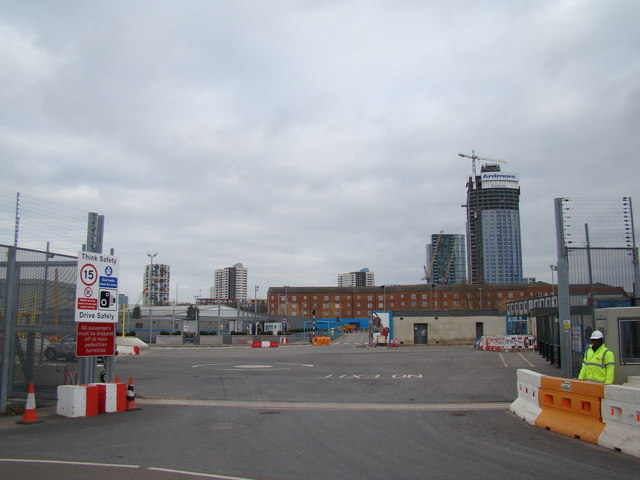View of the Olympic Tour bus pick-up point from Marshgate Lane