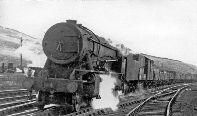 Down freight at Dunford Bridge, with ex-WD 2-8-0