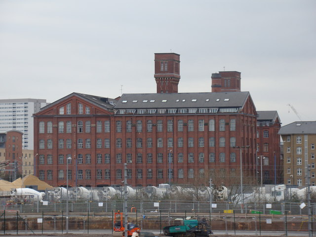 View of the former Bryant & May factory from the Greenway
