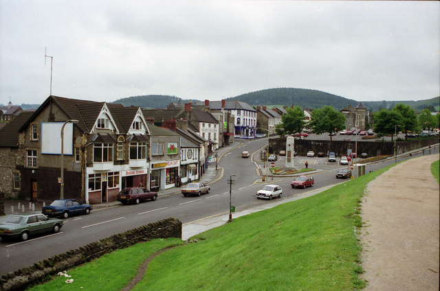 """Caerphilly Old Town view of """"The Twyn"""" Area looking south"""
