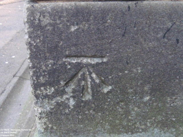 Ordnance Survey Cut Mark on Harlow Inn, Harlow Hill, Harrogate
