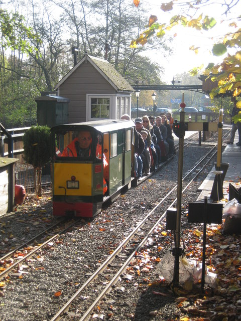 The train departing from