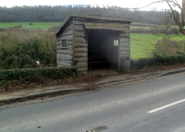 Wooden bus shelter south of Slad