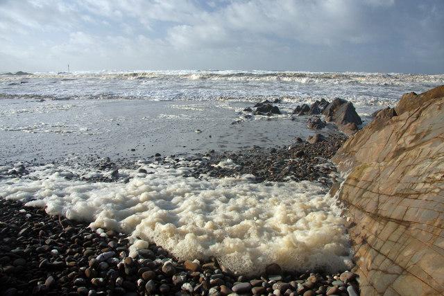 Foaming sea at Bude